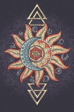 Mandala Wall Tapestry Alchemy Sun Moon Blue Boho Wall Hanging Home Decorations Boho Hippie, Bohemian Art, Grunge Hippie, Neue Tattoos, Body Art Tattoos, Tatoos, Sun Moon, Pattern Wall, Planet Icon