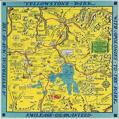Souvenir Tourist Map of Yellowstone Park, Wyoming -1936