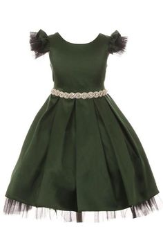 a561d9b016c3 Girls Green Satin Dress w. Peeking Tulle & Rhinestones in Tiffany Setting  KD450 Green Satin