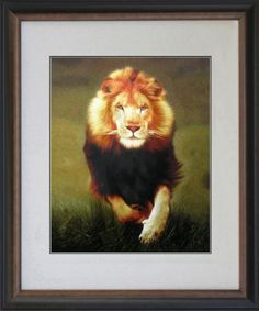 #1:  King Silk Art 100% Handmade Embroidery Framed Running African Lion Chinese Print Wildlife Animal Painting Gift Oriental Asian Wall Art Décor Artwork Hanging Picture Gallery 74101