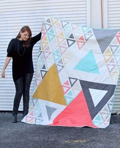 triangle quilt modern and beautiful