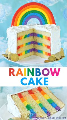 This is the ultimate Rainbow Cake! It has moist yellow cake, striped rainbow frosting inside, and a light and fluffy cloud-like meringue on the outside! Make it for St. Patrick's Day, or any fun party! via Cake Rainbow Cake with Rainbow Frosting Rainbow Desserts, Rainbow Food, Taste The Rainbow, Cake Rainbow, Rainbow Birthday Cakes, Rainbow Baking, Rainbow Cookie, Rainbow Layer Cakes, Rainbow Jello