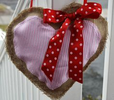 Valentine's Day Decor:  DIY Burlap Heart Wreath