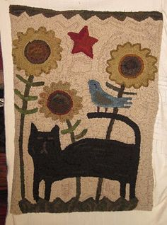 Cat and Bird Hooked Rug. Cute!