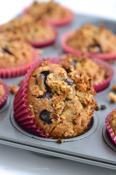 Clean Eating Breakfast Muffins, made with blueberries, apple and quinoa! Perfect for a healthy breakfast on the go. Naturally sweetened. Click to see the recipe on NotEnoughCinnamon.com