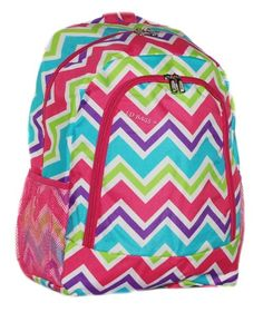 Shop With Carolina Girl Store - Chevron Backpack School Bag Multi-Colored Pink Trim, $23.99 (http://www.shopwithcarolinagirl.com/chevron-backpack-school-bag-multi-colored-pink-trim/)