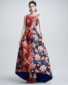 Oscar de la Renta - Floral Ikat Jacquard Gown, Navy/Red