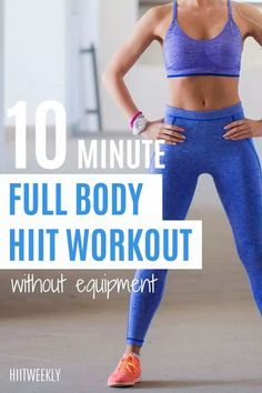Snap back into shape by doing this 10 minute no equipment home workout plan. Hiit Workout Routine, Full Body Hiit Workout, Hiit Workout At Home, 10 Minute Workout, Intense Workout, At Home Workouts, Hiit Workouts With Weights, Workouts Without Equipment, Circuit Training Workouts