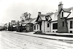 When Charlie Chaplin decided to build his own studio in 1917, he bought a lot at the corner of La Brea Ave and Sunset Blvd and spent two years turning it into a picturesque British village. Miraculously, it's still there—it's now the home to Jim Henson's Muppets. But even more miraculously, in this photo from 1921 the studio and La Brea Ave are covered in snow. These days, we're lucky to get a few drops of rain.