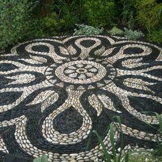 Mandala backyard patio project - love these. Next rock project??