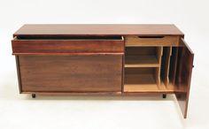 Early Glenn of California walnut cabinet by Milo Baughman image 4 California Walnuts, Walnut Cabinets, Vinyl Record Storage, Milo Baughman, Top Drawer, Shelving, Drawers, Flooring, Interior