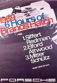 Vintage Porsche Factory Poster 1969 6 Hours of Brands Hatch