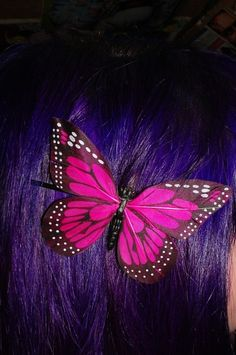butterfly, chelsamander, colored hair, dyed hair, hair