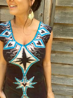 Tribal Turquoise and Earth Clay Organic Cotton Batik Dress - Size Small