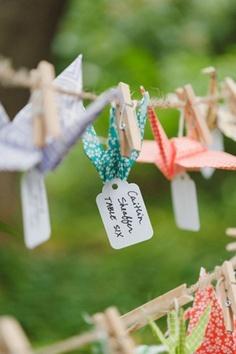 idea: hang paper cranes on line...if no trees at reception.