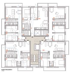 MIRAG Millet Ramoneda, Jordi Surroca · Social housing in Sentmenat Plan Hotel, Hotel Floor Plan, House Floor Plans, Social Housing Architecture, Architecture Résidentielle, Residential Building Plan, Block Plan, Architectural Floor Plans, Building Layout