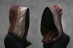 Sale, Unisex Hooded  cowl  brown, Unisex hood, upcycled neckties, men's ties, recycle design, eco friendly, spring hood Solmode,