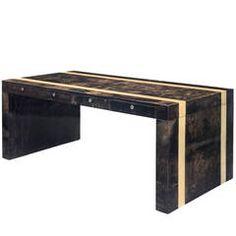 Aldo Tura, A Unique and Large Graphite and Almond Colored Parchment Desk