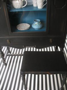 Vintage china cabinet and stool painted black