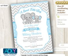 ADLY Invitations and Digital Party Designs - Grey and Baby Blue Elephant Chevron Invitation for a Boy, $14.00 (http://www.adlybabyshower.com/grey-and-baby-blue-elephant-chevron-invitation-for-a-boy/)