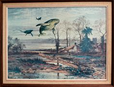 """""""Migration path of the Humpback in Autumn"""" by Andy Heyward 2012.    Remixing op-shop paintings one print at a time."""