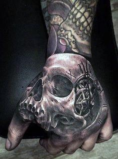 Best Skull Tattoos On Hand — Hand Tattoos Design Half Sleeve Tattoos For Guys, Hand Tattoos For Guys, Trendy Tattoos, Finger Tattoos, Body Art Tattoos, Heart Tattoos, Butterfly Tattoos, Skull Hand Tattoo, Sugar Skull Tattoos