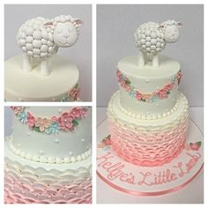 Baby shower cake - little girl - little lamb theme