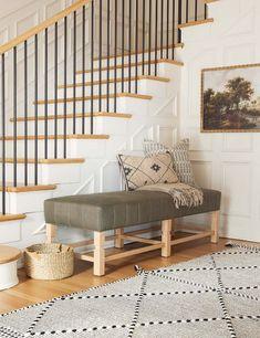 Taza Rug, Black Living Room Shop, Bench In Living Room, Staircase In Living Room, Upholstered Furniture, Bedroom Furniture, Bohemian Decor, Bohemian Style, Bohemian Lighting, Bohemian Furniture
