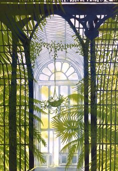 Inside The Palm House at Kew Linocut by Alison Headley