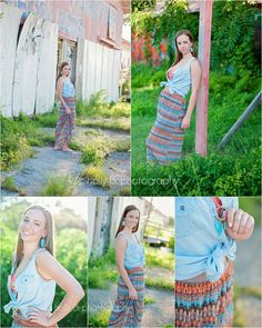 holly B. photography » Austin's ULTIMATE senior portrait experience cute summer outfit for senior pictures: jean vest, teal kendra scott earrings, and patterned skirt