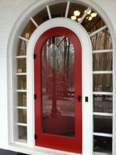 Round Top Entry Unit | Red Manhattan Screen/Storm Door Model | www.VintageDoors.com