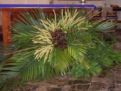 Palm Sunday with palm, leather leaf and purple orchids (?)