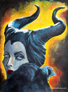 Maleficent painting by DavyR Acrylic on paper 30x40cm