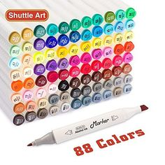 Shuttle Art 88 Colors Dual Tip Art Markers,Permanent Marker Pens Highlighters with Case Perfect for Illustration Adult Coloring Sketching and Card Making by Shuttle Art, http://www.amazon.com/dp/B074TC3LSR/ref=cm_sw_r_pi_dp_U_x_1PTkAbMS94YC9