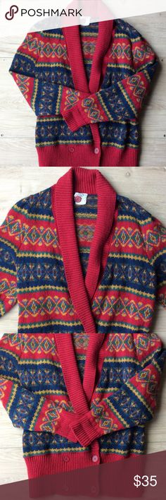 """Laura Ashley 100% Wool Cardigan Sweater OS 100% wool red cardigan sweater with multicolored pattern.  One size top to bottle length 27"""" sleeves 27"""" . Laura Ashley Sweaters Cardigans"""