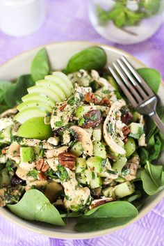 Chicken, Green Apple and Feta Salad   #healthy #eating #recipes