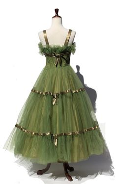 vintage green tulle party / prom dress