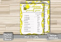 Baby Animal Gestation Game Printable - Baby Shower Animal Pregnancy Bee Yellow - Animal Gestation Game Bumble - Instant Download - bee1 by DigitalitemsShop on Etsy