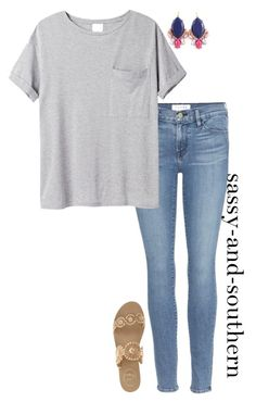 """cute school outfit"" by sassy-and-southern ❤ liked on Polyvore featuring Frame Denim, AR SRPLS and Jack Rogers"
