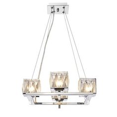Neeva Chrome Four-Light Chandelier with Faceted Crystal Glass Shade