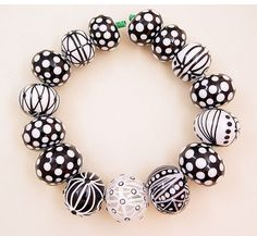 Glass blown hollow beads strand of 15 by jarisheese...love the black & white.