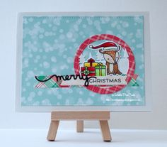 InvisiblePinkCards: Handmade Christmas card using Lawn Fawn stamps, dies and patterned paper