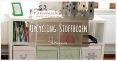 Upcycling: Stoffboxen, Kisten und Einschübe bekleben mit Freebie