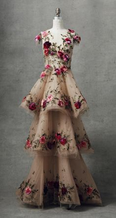 Three Tier Gown by Marchesa Fall Winter 2018