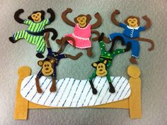 Library Village: Flannel Friday - Five Little Monkeys (Jumping on the Bed! Flannel Board Stories, Felt Board Stories, Felt Stories, Flannel Boards, Five Little Monkeys, No More Monkeys, Monkey Jump, Flannel Friday, Gross Motor Activities
