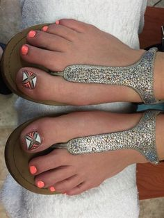 Fun pedicure with hand painted detail