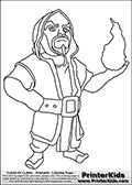 Coloring page with a Wizard from Clash of Clans App. This coloring page show a Clash of Clans Wizard troop, an expensive to use ranged troop that deal splash damage to ground and air units - and structures. The Wizard is generally considered an upgrade to the Archer troop. The Wizard is much more powerful than the archer but much more expensive to train and house! Print and color this Clash of Clans page that is drawn by Loke Hansen (http://www.LokeHansen.com) based on a Clash of Clans ...