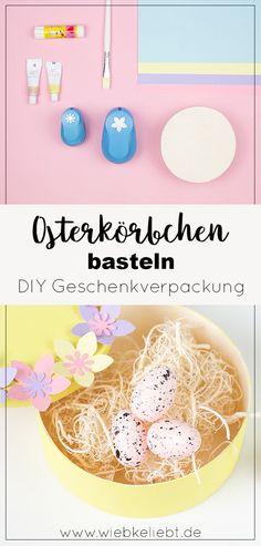 Originelle Osterkörbchen zum Verschenken basteln. Die Anleitung für die florale Geschenkverpackung findest du auf wiebkeliebt.de. Die Osterkörbchen im pastelligen Frühlingslook eignen sich für viele Anlässe und sind ein tolles Last Minute DIY. #Ostern #osterkörbchen #geschenkverpackung #flowerbox Frühling Ostergeschenk Diy, Diy Ostern, Diy Blog, Last Minute, Diy Projects, Crafty, Inspiration, Joy, Illustration