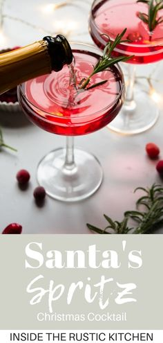 Santa's Spritz Christmas Cocktail Santa's Spritz. A fun, sparkling festive Christmas cocktail made with rhubarb gin, prosecco and cranberry juice. So delicious, easy and perfect for the holidays. Christmas Baking Gifts, Christmas Drinks, Holiday Cocktails, Christmas Desserts, Christmas Recipes, Holiday Parties, Christmas Holidays, Holiday Recipes, Gin And Prosecco