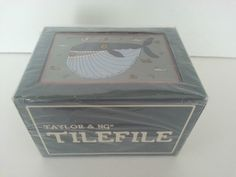Taylor & Ng Tile File Recipe Box Wood Whopper Whale Sealed Nautical 1983 NOS 3x5